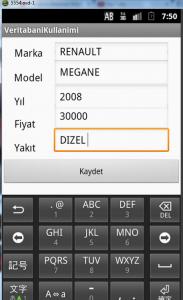 android veritabanı kullanımı